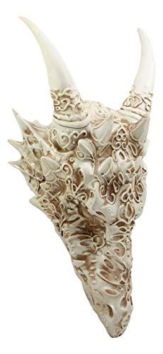 Dragon Skull Statue - Ebros Large Gothic Tribal Stencil Tattoo Design Bone Color Horned Dragon Head Skull Wall Decor Or Desk Statue 14.75