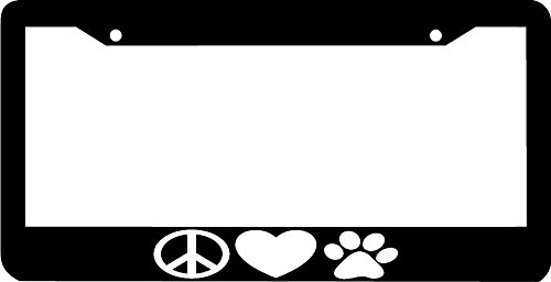 peace love paws dog cat paw heart peace sign license plate frame - Dog License Plate Frames