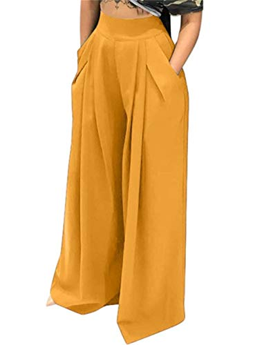 - NRTHYE Womens Palazzo Long Pants High Waist Wide Leg Stretchy Loose Fit Casual Trousers with Pocket Yellow