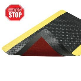 NoTrax Vinyl 479 Cushion Trax Anti-Fatigue Mat, for Heavy-Traffic Dry Areas, 3' Width x 12' Length x 9/16'' Thickness, Black / Yellow by NoTrax