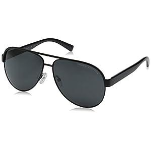 Armani Exchange Men's Metal Man Sunglass 0AX2013 Aviator Sunglasses, Satin black/black Dark Grey, 60 mm