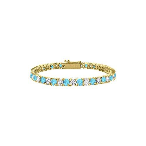 Cubic Zirconia and Created Blue Topaz Tennis Bracelet in 18K Yellow Gold Vermeil 7CT TGW 7 Inch