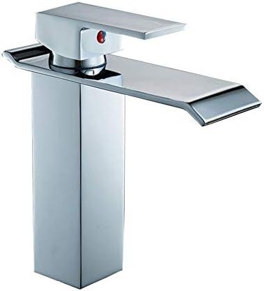 キッチン水栓 現代のブラシをかけられたニッケルの単一のハンドルの1つの穴の浴室の流しのコックの洗面化粧台の流しの流しのコック蛇口付きポップアップ排水大口蛇口 キッチンとバスルームに適しています (Color : Silver, Size : 18.7*10cm)