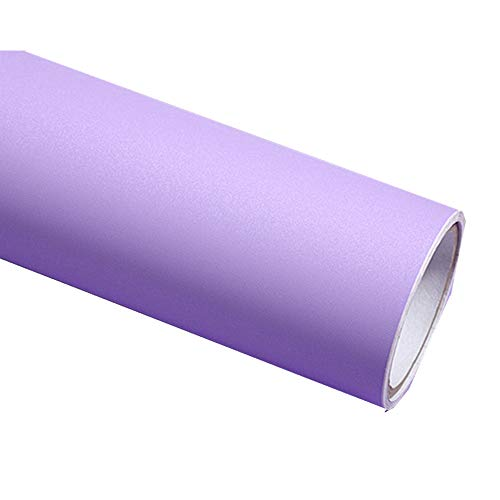 (REDODECO Solid Color Matte Textured Vinyl Adhesive Paper Peel Stick Wallpaper Adhesive Cabinet Shelf Liners Decal,15.8inch by 79inch (Purple))