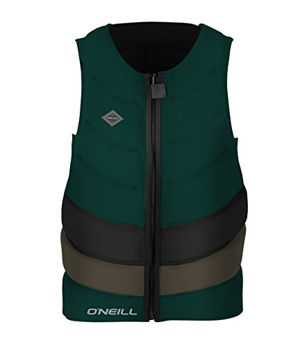 O'Neill Men's Gooru Tech Front Zip Comp Life Vest, Reef/Back/Khaki, X-Large (Back Zip Vest Reversible)