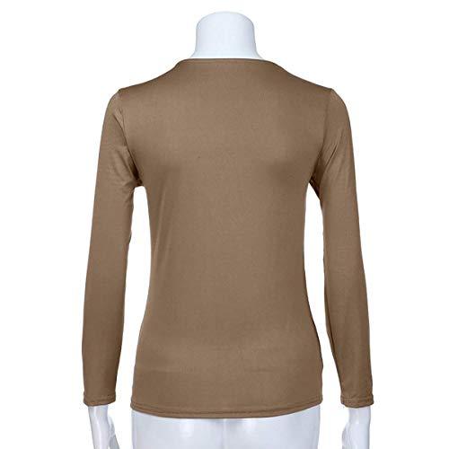 V Tops Shirt pissure Manches Hauts Femmes Jumpers Col Blouse T Mode JackenLOVE Automne Paillettes Longues Kaki Tee et Pulls Printemps Casual Slim xHwqngv8Z