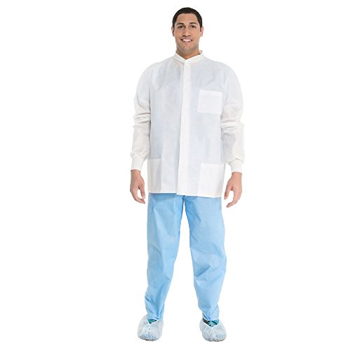 Kimtech A8 Certified Lab Jackets with Knit Cuffs and Collar + Extra Protection (10071), Protective 3-Layer SMS Fabric, Knit Collar, Unisex, White, Medium, 25 / Case