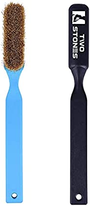 TWO STONES Climbing Chalk Brush with Thick Ultra Durable Boar's Hair Bristles, Bouldering Brush with Ergon