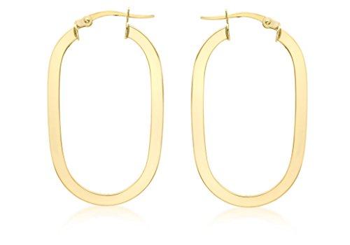 9ct or jaune ovale Boucles d'oreilles créoles