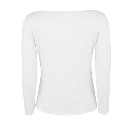Cuore Lettera Pattern Casual Stampati T Magliette Moda Top Lunga Camicetta Manica E Donna Monospalla BoBoLily Shirt Primavera Elegante Bianco vwqxB8