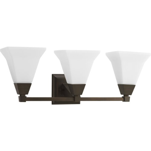 Progress Lighting P3137-74 3-Light Bath Fixture with Etched Opal Glass, Venetian Bronze