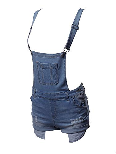 Casual Printed Pocket Lining Rolled Cuff Denim Short Overall Medium M