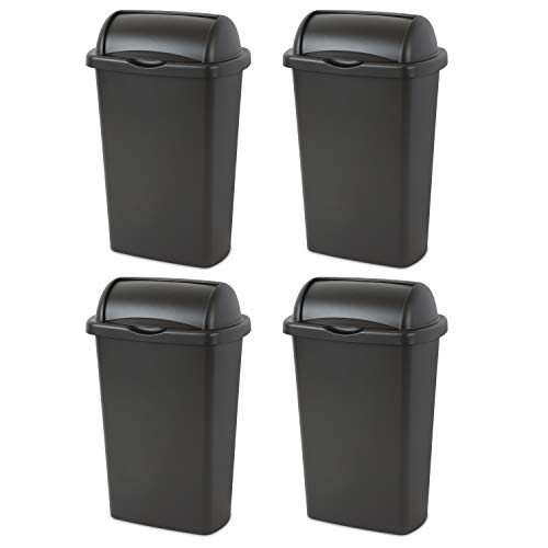 STERILITE, 13 Gal./49 L Roll Top Wastebasket, Case of 4 (Roll Trash Top Can)