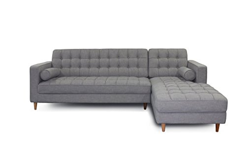 Mid Century Modern Fabric Blend Charles Sectional Sofa, Right Arm Facing, Light Grey✮ ✮ Comfortable Tufted Seats ✮ Very Minimal 10 Min Assembly – Screw on Wood Legs ✮ Satisfaction Gaurantee
