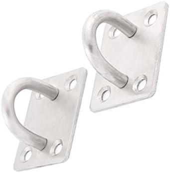 6Pcs 304 Edelstahl Rhombus Form Geschlossen Deckenhaken Aufhänger Silber Ton