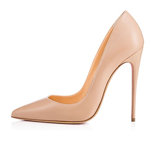 Pu Taille Talon 120mm Talons Stilettos Chaussures Haut Femme Aiguille Escarpins Ubeauty Beige Femmes Grande q8wIWC