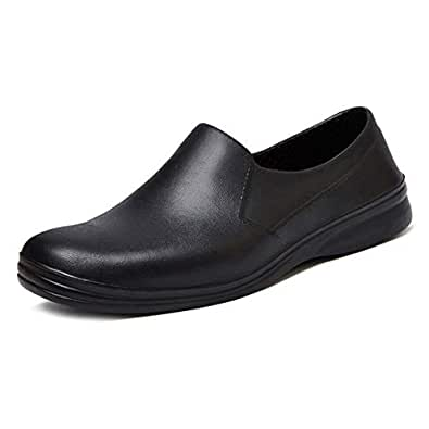 Jiyaru Mens Waterproof Cook Shoes Chef Clogs Non Slip Kitchen Work Black US 7 / Asian 39