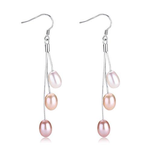 Rice Pearl Hook Earrings (Wiw Pearl Dangle Earrings Long Sterling Silver Drop Earring with Multicolor AA Quality Triple Rice-Bead for Women Jewelry)