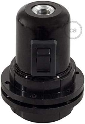Noir creative cables Kit Douille Bakelite E27 avec /écrou Double Anneau pour Abat-Jour et Interrupteur