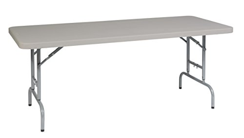 Office Star Resin Multipurpose Rectangle Table, 6-Feet Long, Height (Plastic Adjustable Desk)