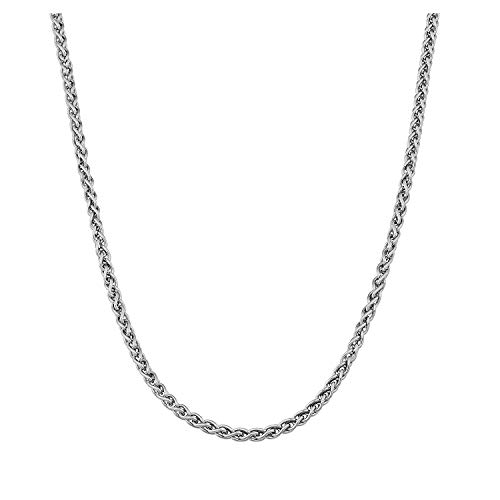 AmyRT 4mm Stainless Steel Wheat Braided Chain Necklace Spiga Chain Silver for Men Women 20