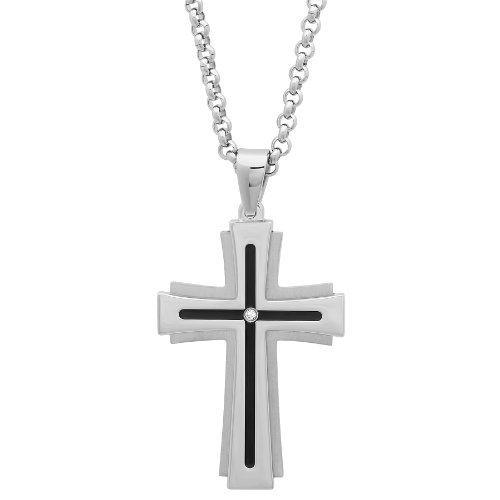 Jewelry Nation Men's Diamond Accent Stainless Steel Stacked Cross Pendant Necklace with Chain, 24