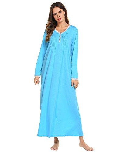Adoeve Plus Size Housewear Sleepshirt Womans Long Pajamas Sleep Dress (Sky Blue, XXL)