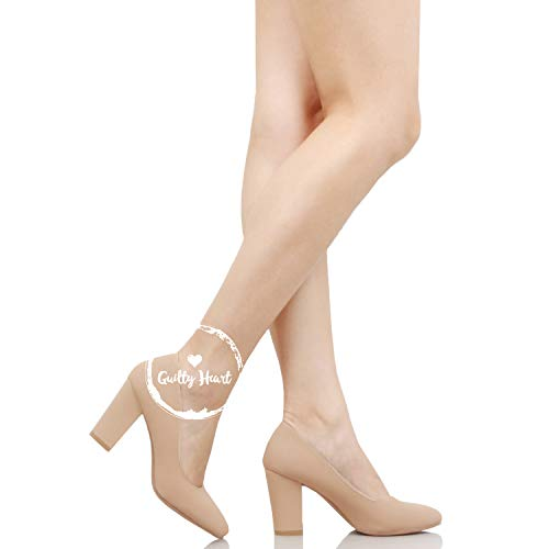 Toe Chunky Dress Block On Tan Pumps Heart Work Guilty Slip Pointy Womens Heel Comfortable Nubuck Office xFqgtWHw0I