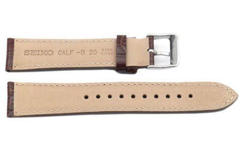 Seiko Genuine Textured Brown Leather Alligator Grain 20Mm Watch Band - Brown, 20Mm, Silver Tone, Regular