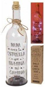 FIESTADEKOR Botella DE Cristal para Regalo Original. Contiene LUZ Interior Y Mensajes Especiales para Todo Tipo DE Ocasiones. (PAPÁ)