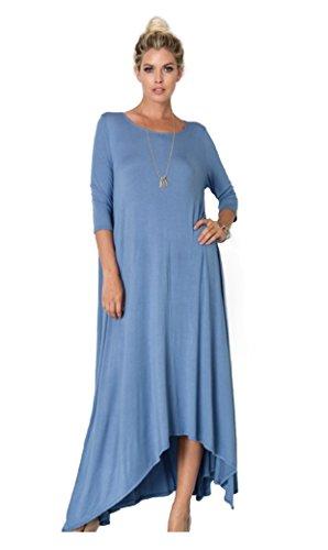 Tabeez Women's Casual Asymmetrical Handkerchief Hem 3/4 Sleeve Jersey Maxi Dr...