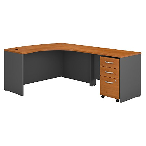 - Bush Business Furniture Series C Right Handed L Shaped Desk with Mobile File Cabinet in Natural Cherry