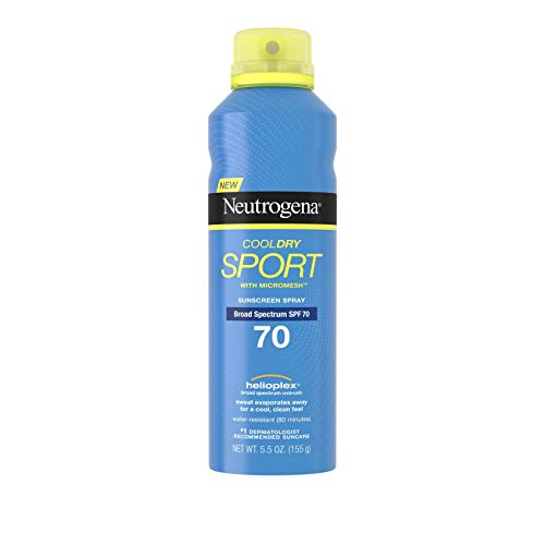 Neutrogena Cooldry Sport Sunscreen Spray Broad Spectrum SPF 70, 5.5 Oz (Pack of 3)