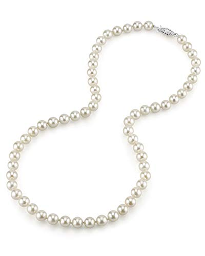 THE PEARL SOURCE 14K Gold 6.5-7.0mm Round Genuine White Japanese Akoya Saltwater Cultured Pearl Necklace in 17 Princess Length for Women