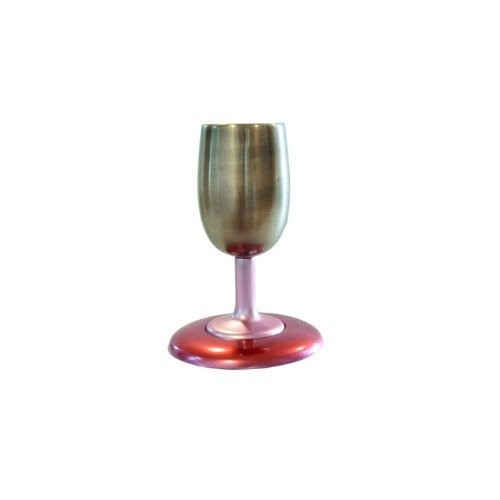 Yair Emanuel Anodize Aluminum Kiddush Cup and Plate in Red and Gold by Yair Emanuel