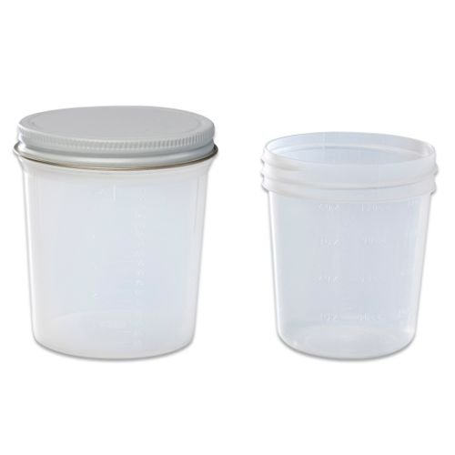 Covidien 8889207034 Specimen Container with White Cap, Non-Sterile, 4 oz. Capacity (Pack of ()