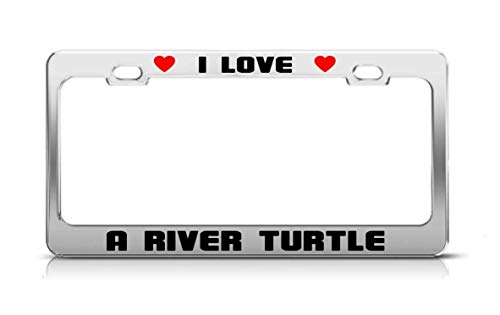 gqurudanri I Love A River Turtle Animal License Plate Frame Tag ()