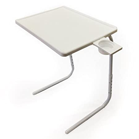 Styleys Table-Mate Adjustable Table with Cup Holder (White)