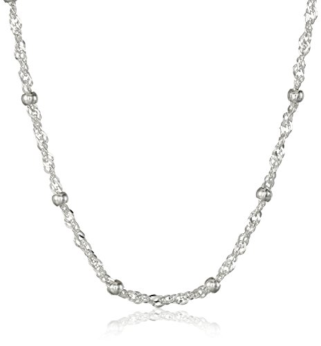Amazon Essentials Sterling Silver Singapore Bead Chain Station Necklace, 20""