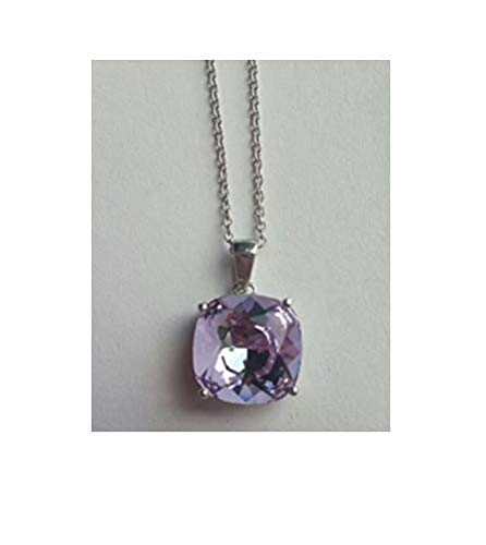 SouthMineral 17'' Fine Silver Light Pink Australian Swarovski Crystal Pendant Thin Link Chain Necklace