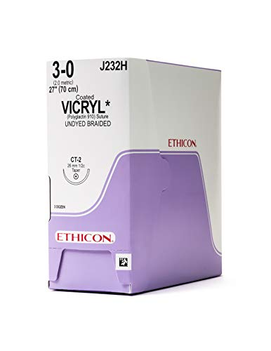 (Ethicon Coated VICRYL (polyglactin 910) Suture, J232H, Synthetic Absorbable, CT-2 (26 mm), 1/2 Circle Needle, Size 3-0, 27