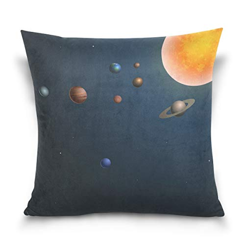Ethel Ernest Solar System Space Home Decor Zippered Pillowcase Throw Pillow Cover Cases 20 x 20 Inches by Ethel Ernest