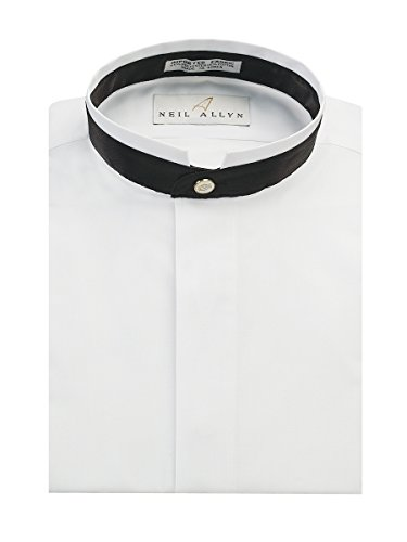 Neil Allyn Men's Banded Collar With Black Trim Dress Shirt-L-36-37
