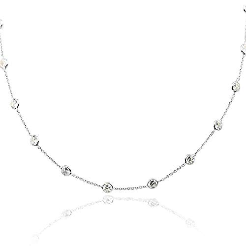 14K White Gold Handmade Station Necklace With 4 MM Cubic Zirconia (16, 17, 18, 20, and 24 Inches) ()
