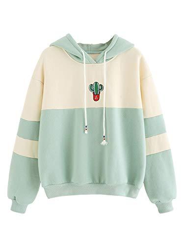 SweatyRocks Womens Long Sleeve Colorblock Pullover Fleece Hoodie Sweatshirt Tops Light Green Beige M