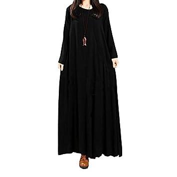 kekafu Diario de mujeres Vintage Vestido Vintage sólidos sueltos,Maxi cuello redondo manga larga invierno