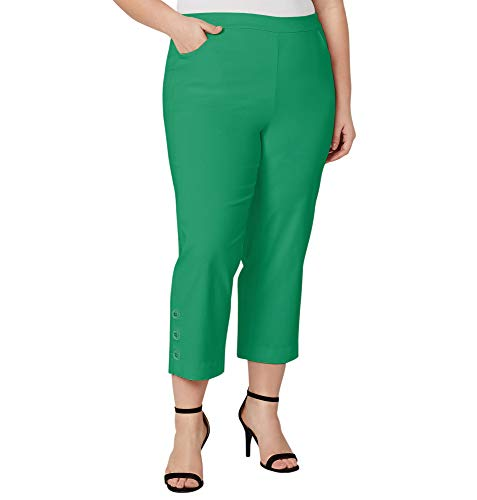 - Avenue Women's Button Ankle Capri with Tummy Control, 24 Green