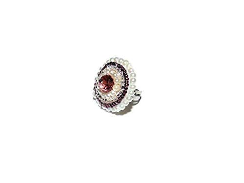 Bead Embroidered Adjustable Ring with Faceted Glass Bead and Simulated Pearls. White and Burgundy Round Cocktail Ring