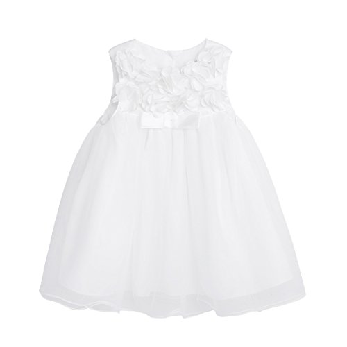 Agoky Baby Flower Girls 3D Floral Wedding Bridesmaid 1st Birthday Party Tutu Dress Ivory 6-9 Months