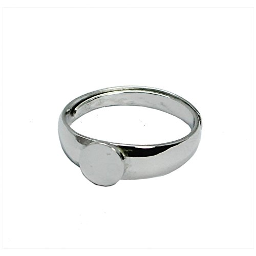 Fashion DIY 925 Sterling Silver Adjustable Ring With Flat Round Pad 6mm Sold by ()